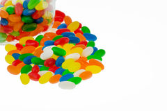 Jellybeans in a jar. Colourful jellybean sweets in a jar isolated on a white background Stock Photography