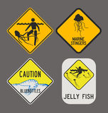 Jellyfish caution signs Royalty Free Stock Photos