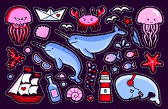 Collection of sea stickers, patches, badges and pins. royalty free illustration