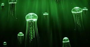 Jellyfish dopłynięcie w Głębokiego morza 4k pętli Zielonego koloru planie ilustracja wektor