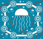 Jellyfish in dot painting style Royalty Free Stock Images