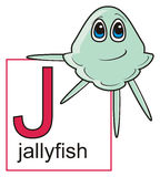 Jellyfish holding a sign with the letter J Royalty Free Stock Image