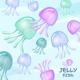 Jellyfish illustration. Cartoon multicolored jellyfish on a light background. Jellyfish illustration. Cartoon multicolored jellyfish on a light background with Stock Photography