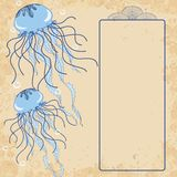 Jellyfish invitation card Royalty Free Stock Photos