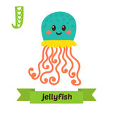 Jellyfish. J letter. Cute children animal alphabet in vector. Fu. Nny cartoon animals. Vector illustration royalty free illustration
