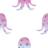 Jellyfish or octopus marine seamless pattern background Royalty Free Stock Photos