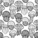 Jellyfish pattern in line art style Stock Photo