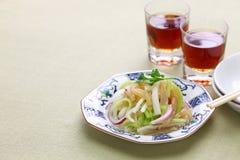 Jellyfish sałatka i Shaoxing wino Fotografia Royalty Free