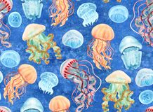 Jellyfish seamless. Pattern hand-drawn with watercolor Royalty Free Stock Photo