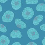 Jellyfish. Seamless pattern on a blue background. For design Royalty Free Stock Images