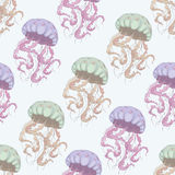 Jellyfish seamless pattern. Hand drawn illustration. Marine vector background, underwater world. Vector Royalty Free Stock Photos