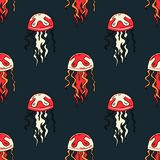 Jellyfish seamless pattern. Original design for print or digital media Royalty Free Stock Image
