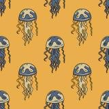Jellyfish seamless pattern. Original design for print or digital media Stock Photography