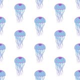 Jellyfish seamless pattern. On the white background. Vector illustration Royalty Free Stock Image