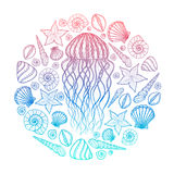 Jellyfish and shells in line art style. Hand drawn vector illustration. Design for coloring book. Set of ocean elements Stock Photo