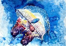 Jellyfish and small fish. At a depth. Painting wet watercolor on paper. Naive art. Drawing watercolor on paper. royalty free illustration