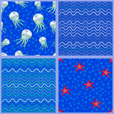 Jellyfish,starfish and Waves. Set of four nautical pattern with waves and bubbles.Red starfish.Vector illustration on the marine theme Stock Photo
