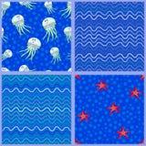 Jellyfish,starfish and Waves Stock Photo