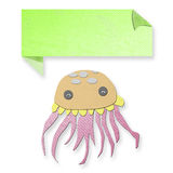 Jellyfish with text box made from tissue paper-craft Royalty Free Stock Photos