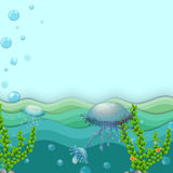 Jellyfishes under the sea. Illustration of the jellyfishes under the sea Stock Images