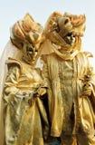 Jelowpaar, Carnaval-masker in Venetië, Italië royalty-vrije stock afbeelding