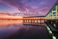 Jelutong jetty view of sunrise. Beautiful landscape series of sunrise and sunset collection from George Town, Penang, Malaysia Royalty Free Stock Photo
