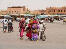 Jemaa el Fna fyrkant, Marrakech, Marocko Arkivbilder