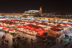 Jemaa el Fna. MARRAKECH, MOROCCO - FEBRUARY 22, 2016: Jemaa el Fna (also Jemaa el-Fnaa, Djema el-Fna or Djemaa el-Fnaa) is a square and market place in Marrakesh royalty free stock image