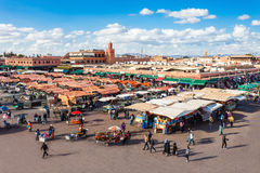 Jemaa el Fna. MARRAKECH, MOROCCO - FEBRUARY 22, 2016: Jemaa el Fna (also Jemaa el-Fnaa, Djema el-Fna or Djemaa el-Fnaa) is a square and market place in Marrakesh royalty free stock photography