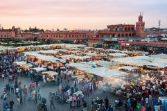 Jemaa el Fna in Marrakesh. MARRAKESH, MOROCCO - MAY 25, 2014: Sunset over Jamaa el Fna - also Jemaa el Fnaa, Djema el Fna or Djemaa el Fnaa - square and market stock photos