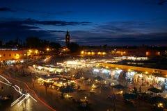 Jemaa el fna sqare。马拉喀什, Marocco 免版税库存照片