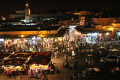 Jemaa el fna square by night Royalty Free Stock Images