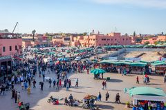 Jemaa el-Fnaa fyrkant, Marrakech Arkivfoton