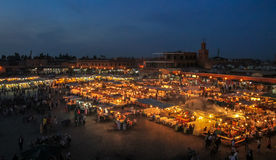 Jemaa el-Fnaa square at evening - Marakech, Morocco stock images