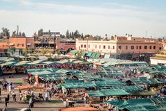 View of the Jemaa el-Fnaa market square in Marrakesh Morocco stock photo