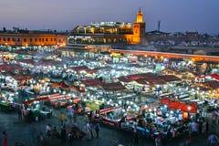 Jemaa elFnaa正方形在马拉喀什,摩洛哥麦地那  库存照片