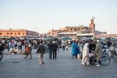 Jemaa elFnaa正方形在马拉喀什 免版税库存照片