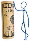 Jemand gelehnt auf Geld, Geldunterstützung lizenzfreie stockfotos