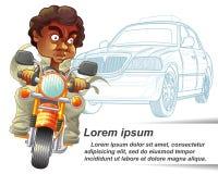 Jemand reitet Motorrad- und Polizeiwagenentwurfshintergrund vektor abbildung