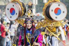 Beautiful carnival model on the parade. JEMBER - Indonesia. May 21, 2018: Beautiful carnival model from Jember Fashion Carnaval, which is held annually in Jember Stock Photos