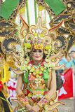 Beautiful costumes worn by a participant. JEMBER - Indonesia. May 21, 2018: Beautiful costumes worn by a participant at annual parade in Jember Festival Carnaval Stock Photography