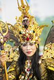 Pretty model smiling at the camera on parade. JEMBER - Indonesia. May 21, 2018: Pretty model smiling at the camera on parade in Jember Festival Carnaval Stock Photography