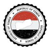 Jemen flaga w rocznik pieczątce i mapa Obrazy Stock