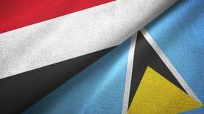 Jemen Lucia i święty dwa flagi tekstylny płótno, tkaniny tekstura royalty ilustracja