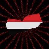 Jemen mapy flaga na czerwonej hex kodu wybuchu ilustraci Fotografia Stock