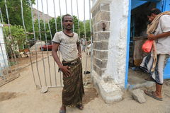 Jemenit auf Aden Street Stockfotos