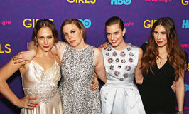 Jemima Kirke, Lena Dunham, Allison Williams, and Zosia Mamet. Televisions actresses Jemima Kirke, Lena Dunham, Allison Williams, and Zosia Mamet arrive on the Stock Photography