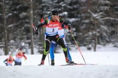 Jen Guillaume Beatrix - biathlon. Jen Guillaume Beatrix from France in men 12,5 km pursuit race within biathlon world cup 2014/2015 held on Nove Mesto na Morave Stock Photo