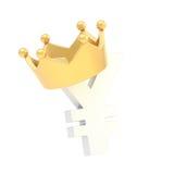 Jen waluta podpisuje wewnątrz koronę Fotografia Royalty Free