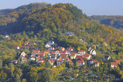 Jena town, Thuringia, Germany. A view from Jena Tower over one of the hills across river Saale with a residential area of Jena City Royalty Free Stock Photography